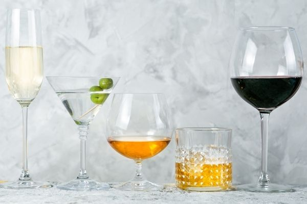 Different types of alcoholic drinks in different glasses