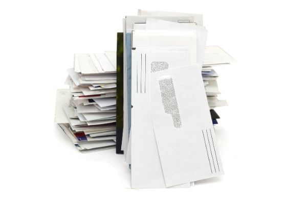 Pile of letters and window envelopes