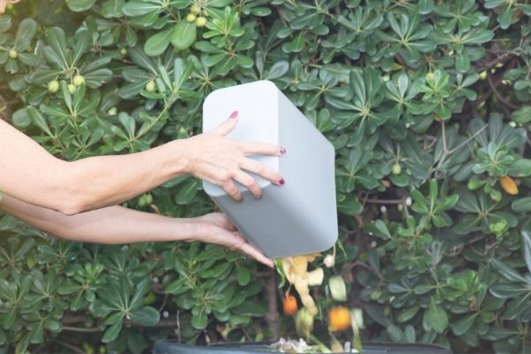 woman adding fruit and vegetable scrap on compost bin