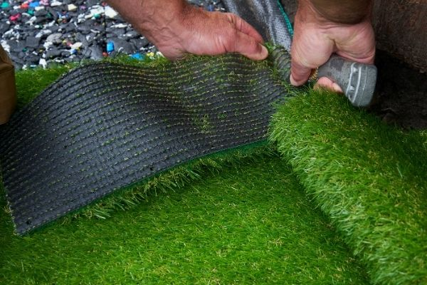 showing what the bottom of artificial grass look like