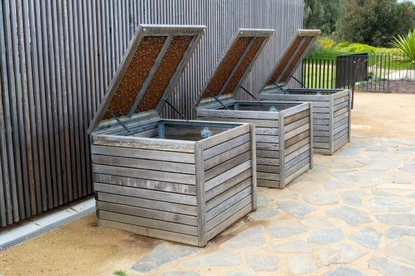 wooden compost bins in the patio
