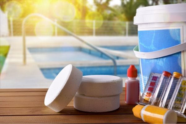 pool test and chemicals