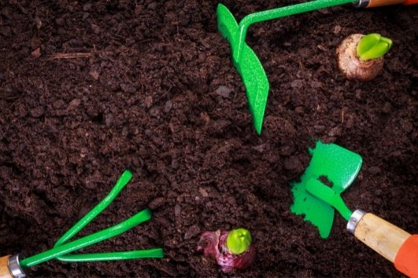 soil and gardening tools